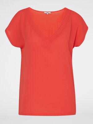 Robe a bretelles unie orange femme