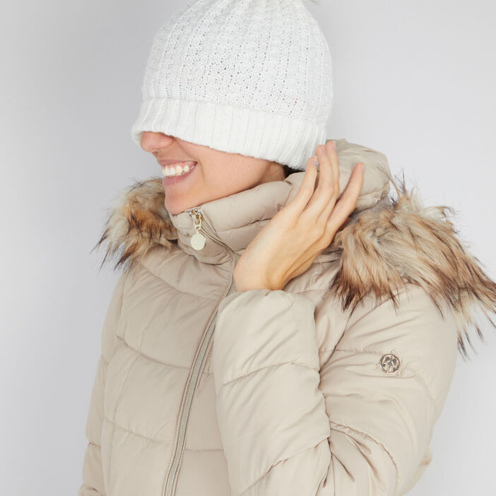 Bonnet à pompon femme beige