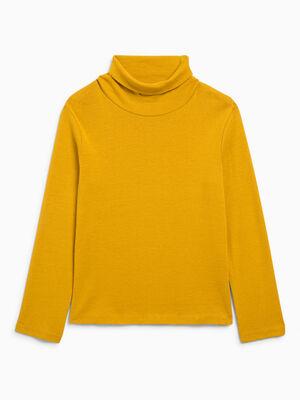 T shirt col roule coton melange jaune moutarde garcon