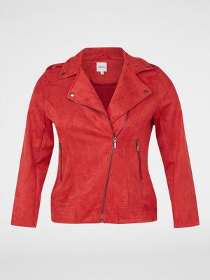 Veste stretch esprit motard rouge femme