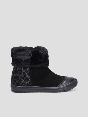 Bottines doublees noir fille
