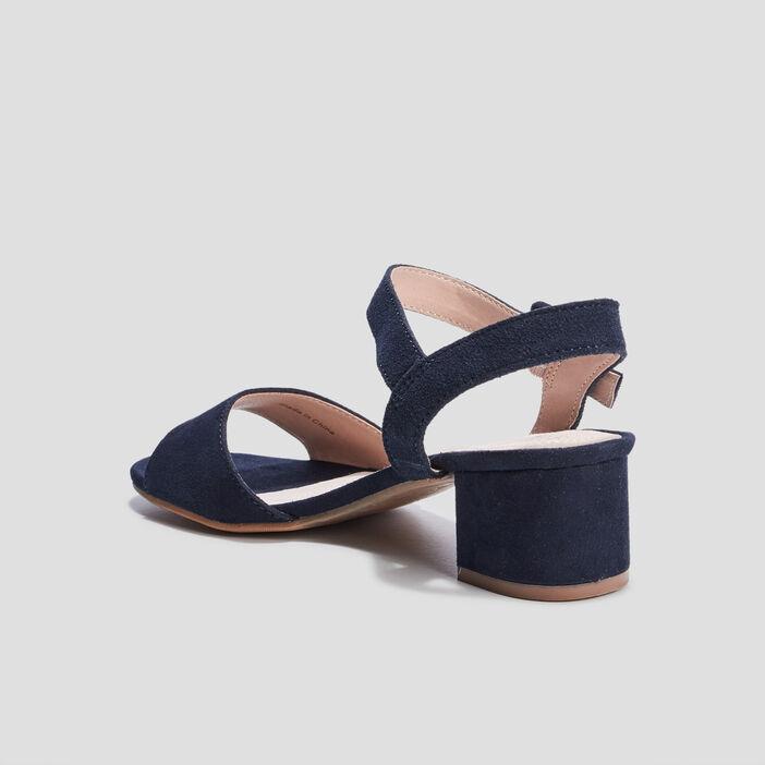 Sandales à talons en cuir femme bleu
