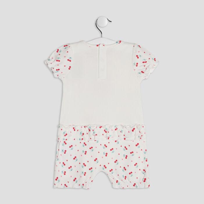 Barboteuse à détail noeud bébé fille blanc