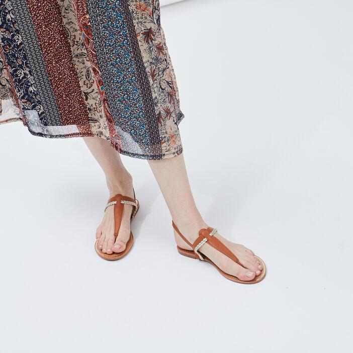 Sandales à entre-doigts femme marron