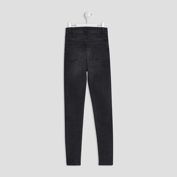 Jeans skinny boutonné fille denim snow noir