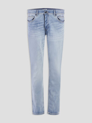 Jeans straight effet delave denim bleach homme