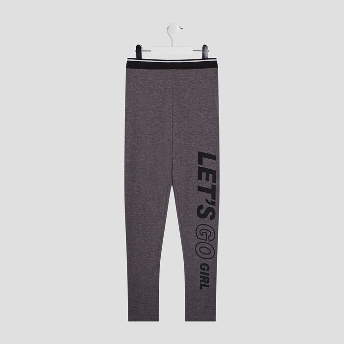 Pantalon legging fille gris