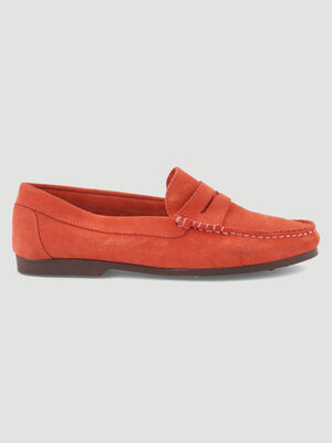 Mocassins nubuck largeur confort orange corail femme