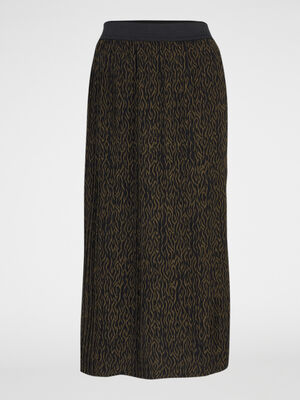 Jupe plissee midi imprime zebre multicolore femme