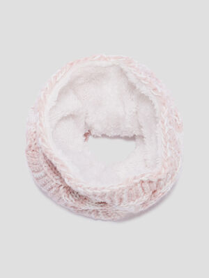 Snood fourre a torsades rose fille