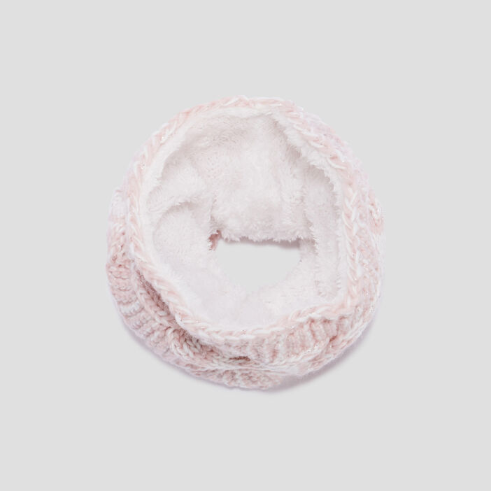 Snood fourré à torsades fille rose