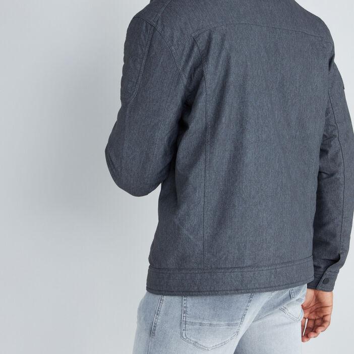 Blouson zippé en similicuir homme gris foncé