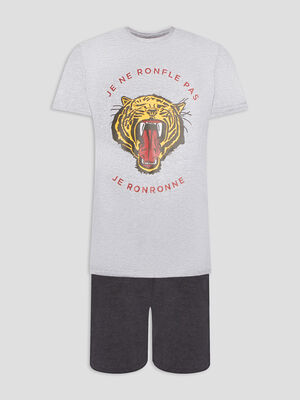 Ensemble pyjama 2 pieces gris homme