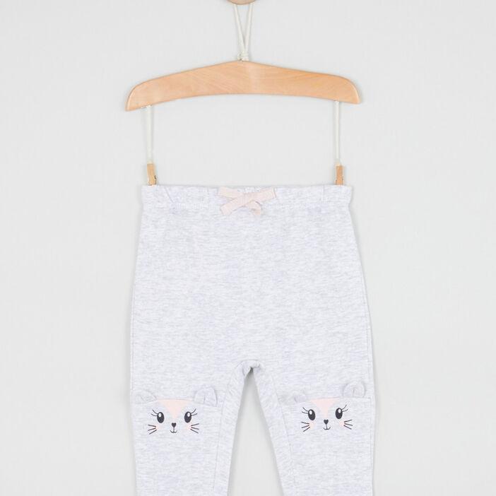 Pantalon broderies et détails 3D bébé fille gris