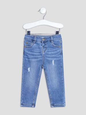 Jeans regular destroy taille ajustable denim bleach bebeg