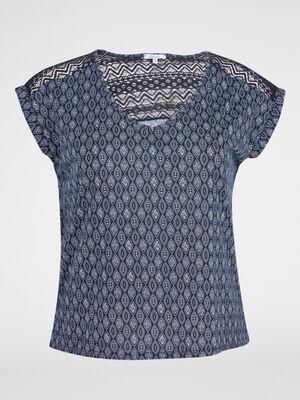T shirt imprime a manches courtes bleu marine femme