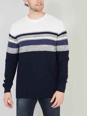 Pull en coton avec rayures bleu marine homme