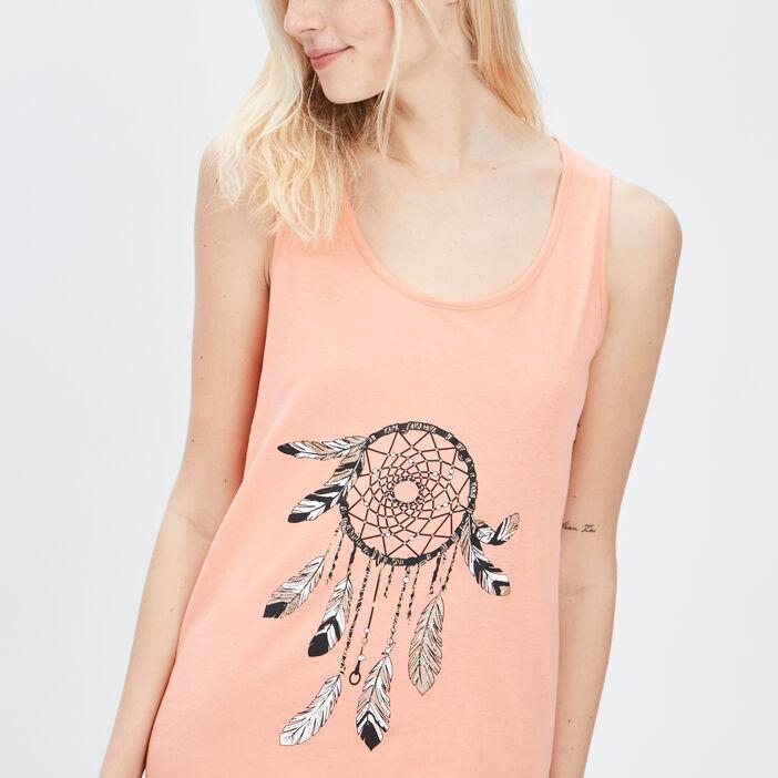 Chemise de nuit sans manches femme orange corail