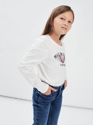 T shirt manches longues ecru fille