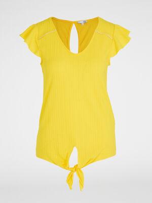 T shirt manches volant base nouee jaune femme