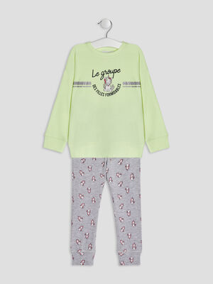 Ensemble pyjama 2 pieces jaune fille