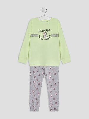 Ensemble pyjama 2 pieces jaune fille