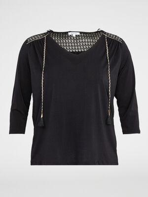 T shirt maille relief et dentelle noir femme