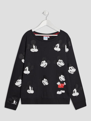 Sweat manches longues Mickey noir fille