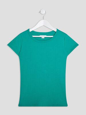T shirt manches courtes cotele vert fille