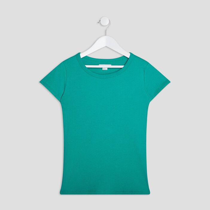 T-shirt manches courtes côtelé fille vert