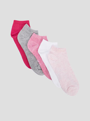 Lot 5 paires coordonnees socquettes rose fille