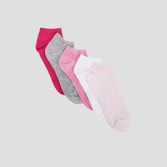 Lot 5 paires coordonnées socquettes fille rose