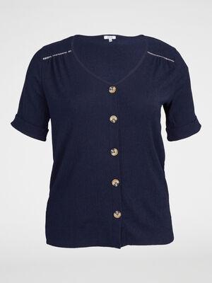 T shirt boutonne stretch bleu marine femme