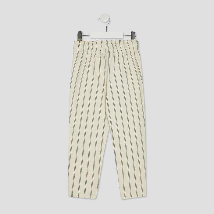 Pantalon droit avec boutons fille beige