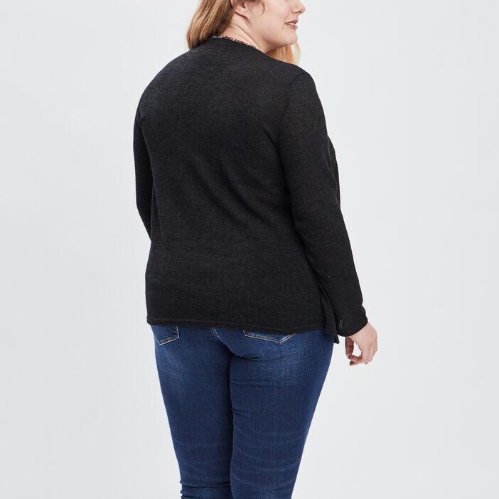 Pull 2-en-1 grande taille femme grande taille noir
