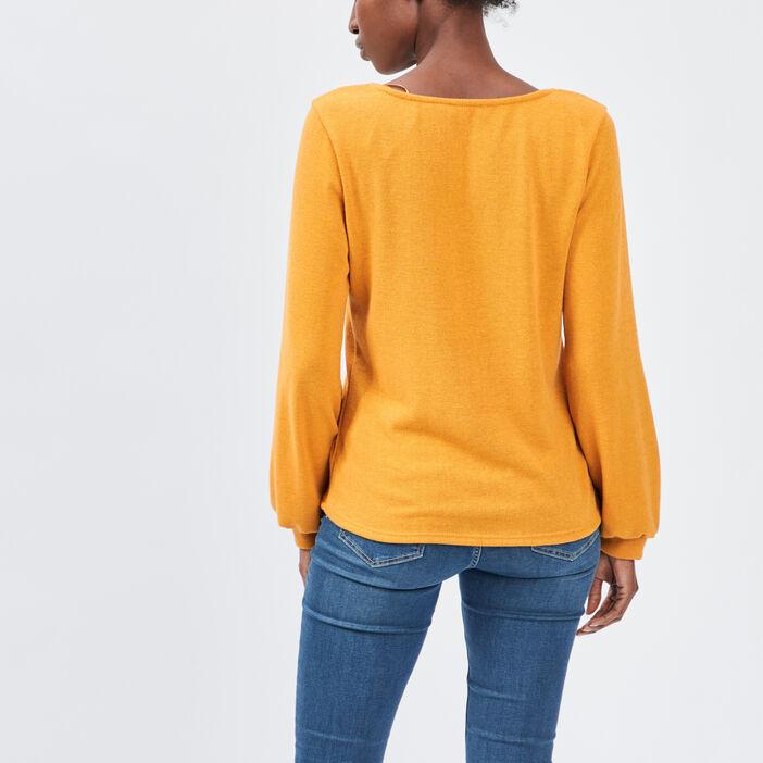 Pull avec col en V femme jaune moutarde