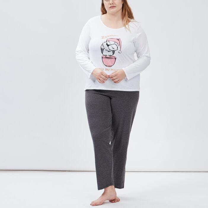 Ensemble pyjama 2 pièces femme grande taille gris clair
