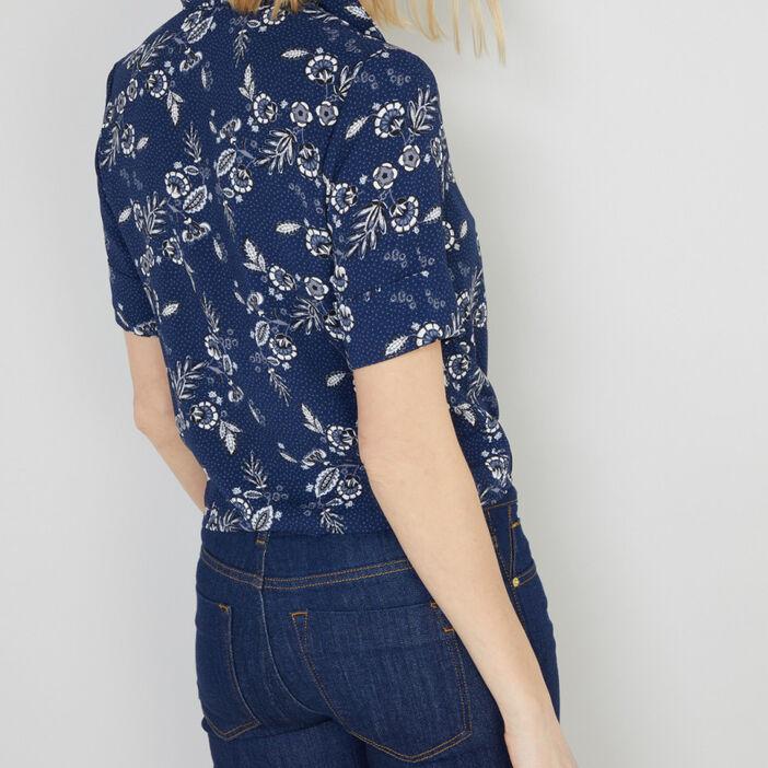 Chemise imprimée à manches courtes femme bleu marine