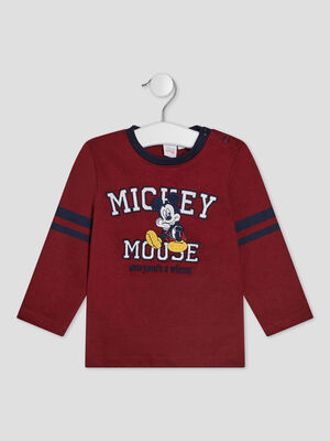 T shirt manches longues Mickey bordeaux bebeg