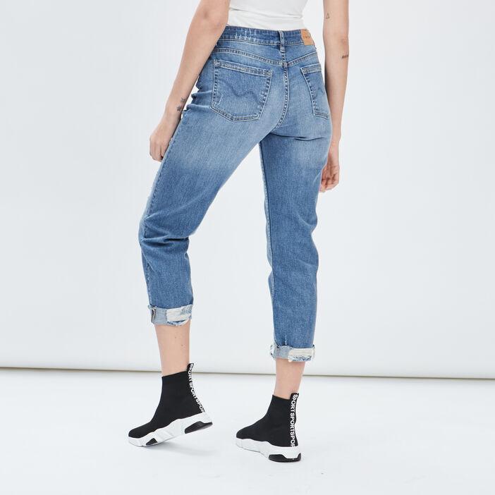 Jeans straight destroy Creeks femme denim double stone