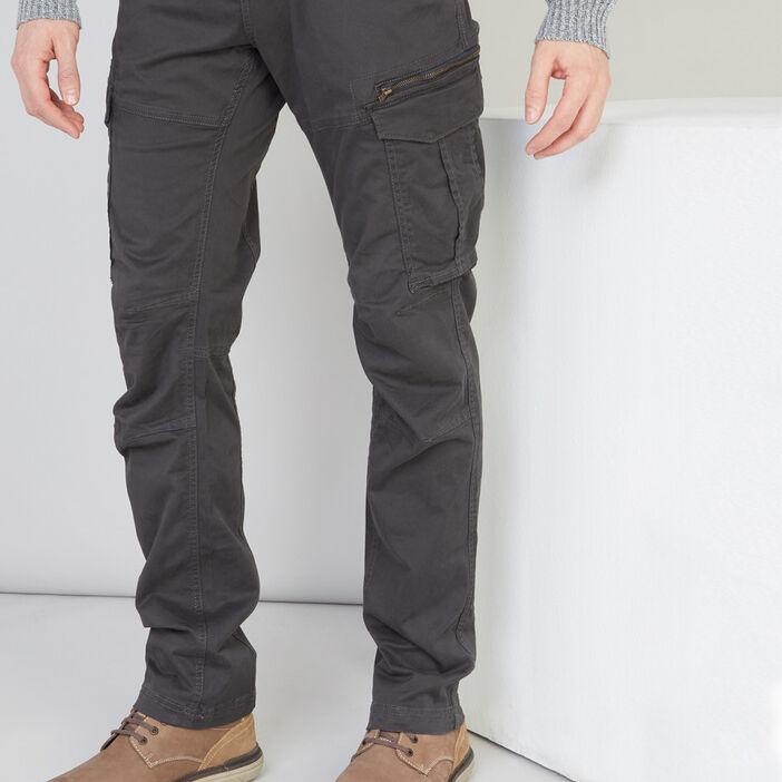 Pantalon regular Trappeur homme gris foncé