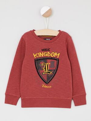 Sweatshirt imprime esprit blason rouge garcon