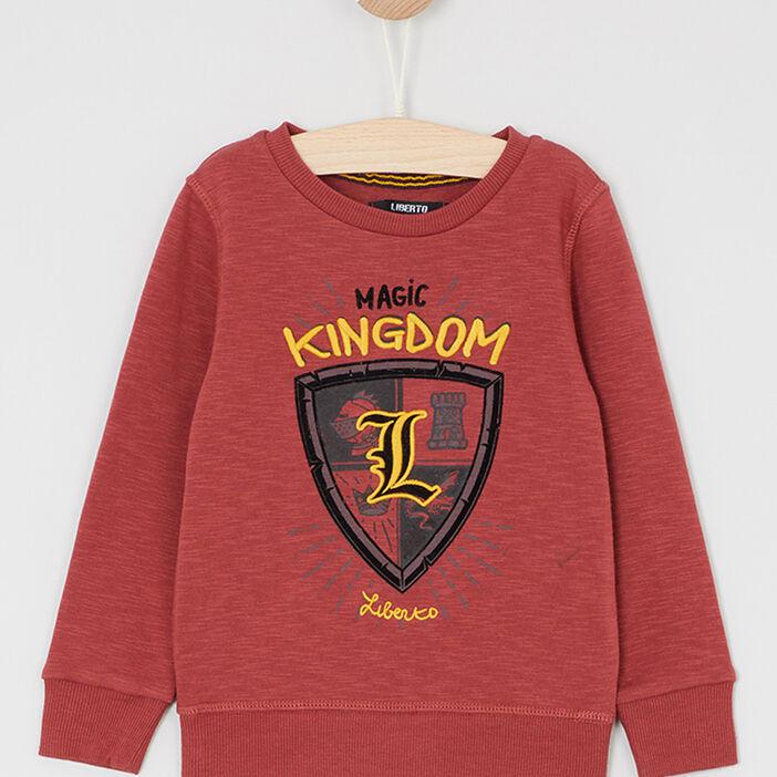 Sweatshirt imprimé esprit blason garçon rouge