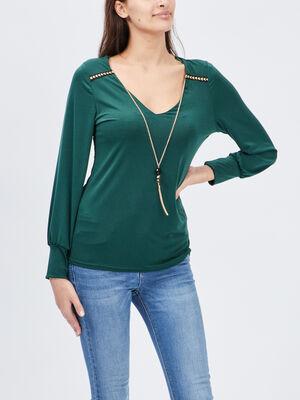 T shirt manches longues vert femme