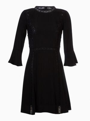 Robe longue unie sans manches noir femme