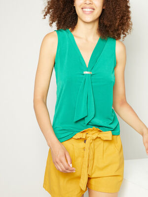 Debardeur avec decollete effet cravatte vert femme