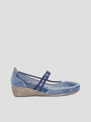 Escarpins perfores bleu femme