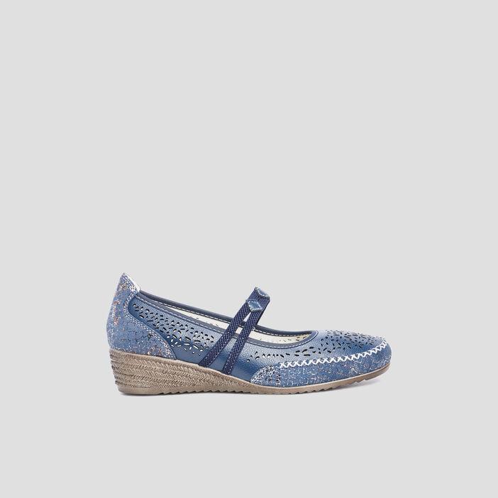 Escarpins perforés femme bleu
