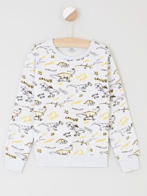 Sweatshirt imprime col rond ecru garco