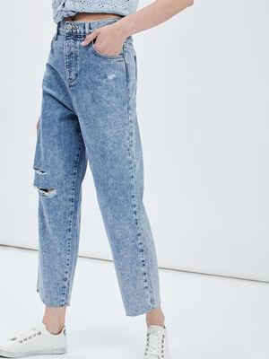 Jeans straight Creeks denim bleach femme
